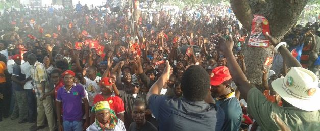 HH addressing a rally in Kalabo