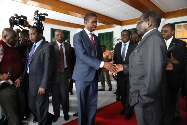 President Lungu with his Zimbabwe friend Robert Mugabe the President of that country.