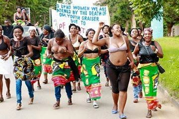 women protests Naked
