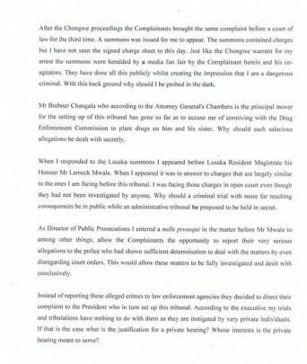 Mutembo's letter 3