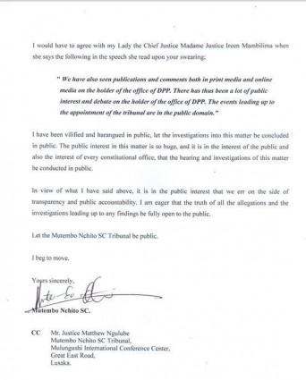 Mutembo's letter 4