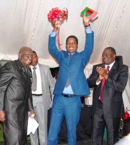 Dr Kenneth Kaunda and President Edgar Lungu celebrate the reprint of Dr Kaunda's book Zambia Shall Be Free with Kagem chairman William B Nyirenda