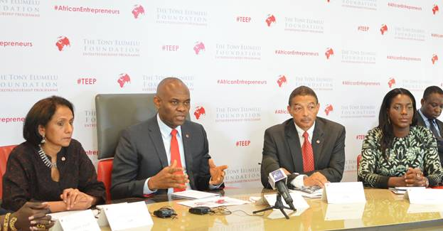 Pix 1: L-R: Director, Tony Elumelu Entrepreneurship Programme (TEEP), Parminder Vir; Founder, Tony Elumelu Foundation, Tony O. Elumelu; CEO, Tony Elumelu Foundation, Reid Whitlock; and CEO and Founder of Java Foods, Zambia and Member Selection Committee TEEP, Monica Musonda during the official announcement of the selection of the first 1,000 African entrepreneurs for the Tony Elumelu Entrepreneurship Programme (TEEP) in Lagos