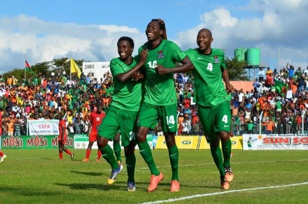 Chipolopolo celebrate Mtonga's goal