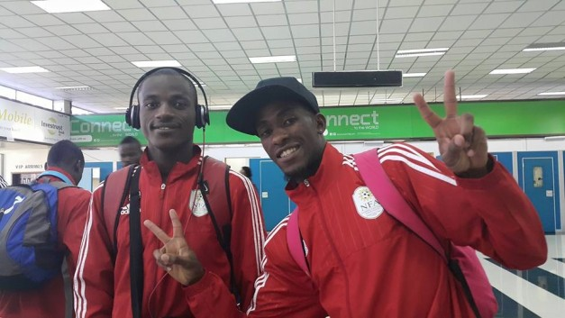 Namibian players at the airport