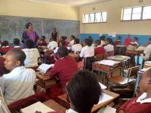 Nawakwi speaking to pupils at Katete Girls School