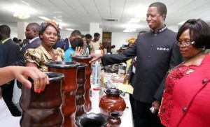 Lungu tours stands at national women economic empowerment exposition. Photo: State House