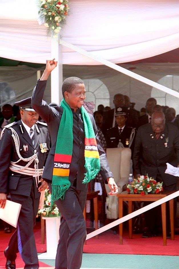 President Lungu waves at the audience during the celebrations