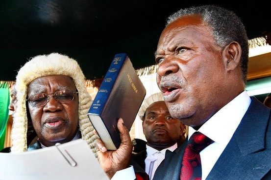 President Sata taking oath of office before Chief Justice Ernest Sakala on 23rd September 2011 - Picture by Thomas Nsama