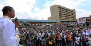 Lungu addressing a rally in Kitwe