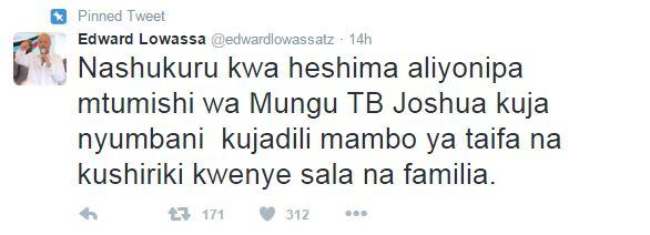 Lowassa Tweet About TB Joshua