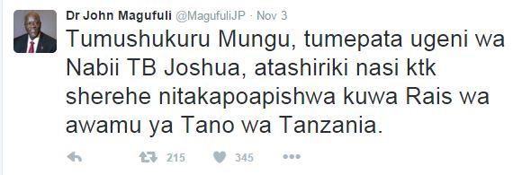 Magufuli Tweet About TB Joshua