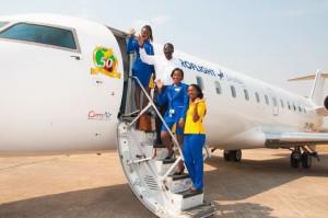 Proflight Zambia 50-seat CRJ-100 woth Capt Philip Lemba and staff