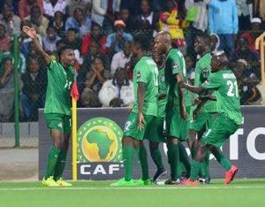 Zambia celebrating after scoring