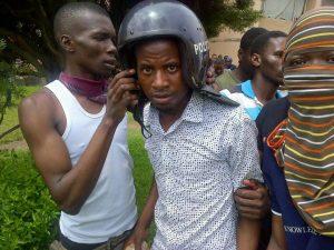 CBU Student grab helmet