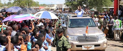 President Edgar Chagwa Lungu arrive at Market Square in Chama,Muchinga Province on Thursday, February 26, 2016. Photo courtesy of State House