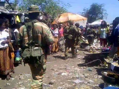 Soldiers patrolling the townships