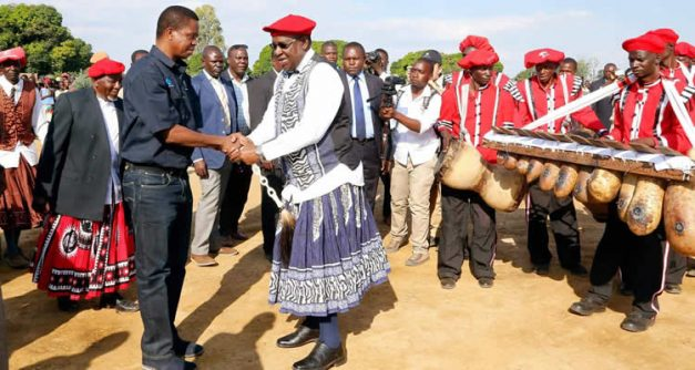 President Lungu being welcomed by the Litunga