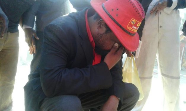 UPND vice-president for politics Canisius Banda reacts after being teargassed by police