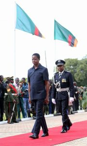 President Lungu at the Freedom statue