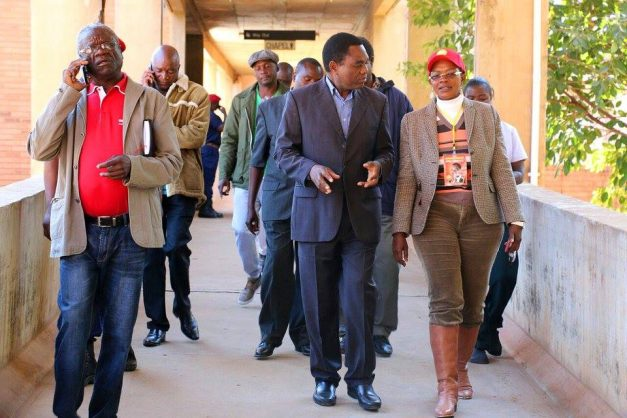 HH, Masebo and Secretory General Stephen Katuka leaving UTH