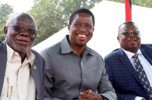 Preident Edgar Lungu with Labour Minister Fackson Shamenda during Labour Day celebrations