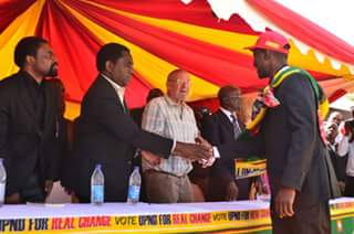 HH welcomes Mulenga Sata while Dr Scott looks on
