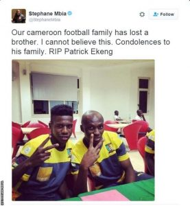 Ekeng's Cameroon international team-mate Stephane Mbia (right) paid this tribute on Twitter