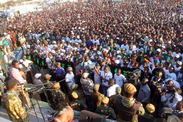 Lungu addressing a rally in Chongwe