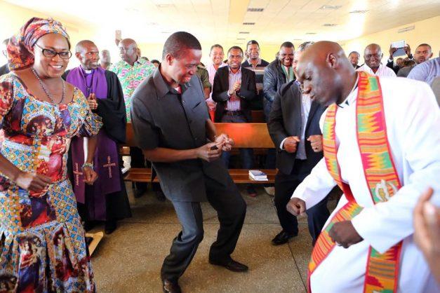 Lungu dancing in Church