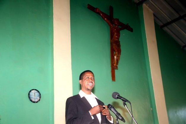 President Lungu speaking at Kizito Church