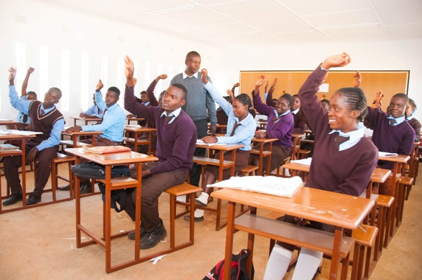 Students at the newly opened Chapula Secondary School