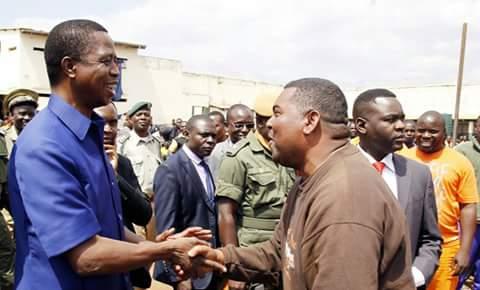 President-elect Lungu greeting Mwaliteta at Prison