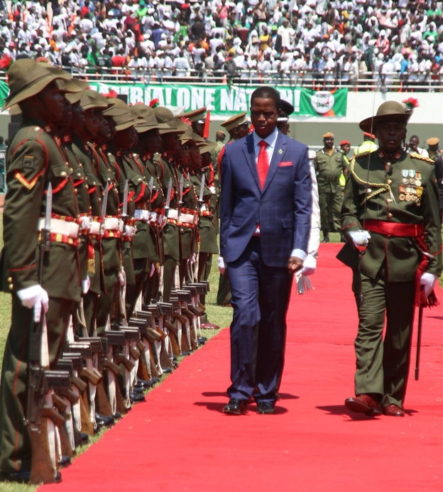 President Lungu inspecting a guard of honour during his inauguration. Photo: Jean Mandela