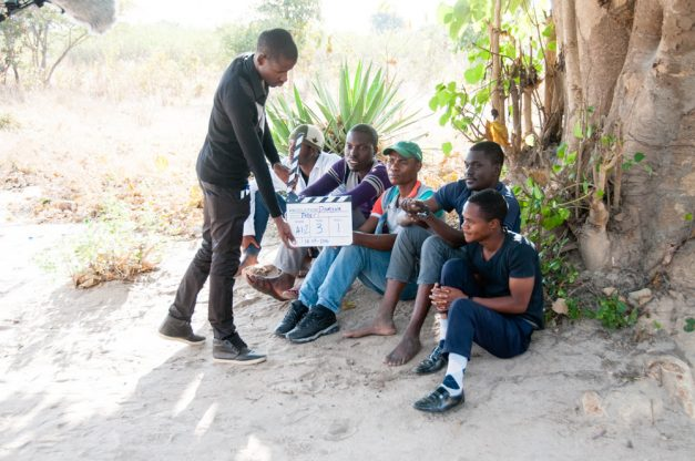 Farmers Emmanuel Muleta, Ulande Nkomesha, Daniel Mwalwembe, Danani Longwe and Mike Tembo with Mapaalo Musonda in Damyna the Musical