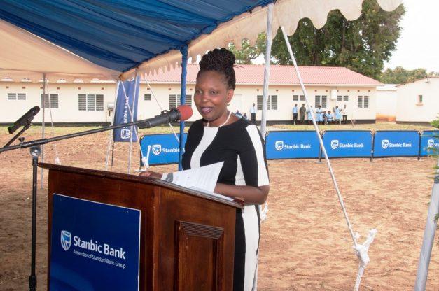 Stanbic Bank chief executive Mukwandi Chibesakunda at the commissioning of the new mothers' shelter at Mazabuka General Hospital.