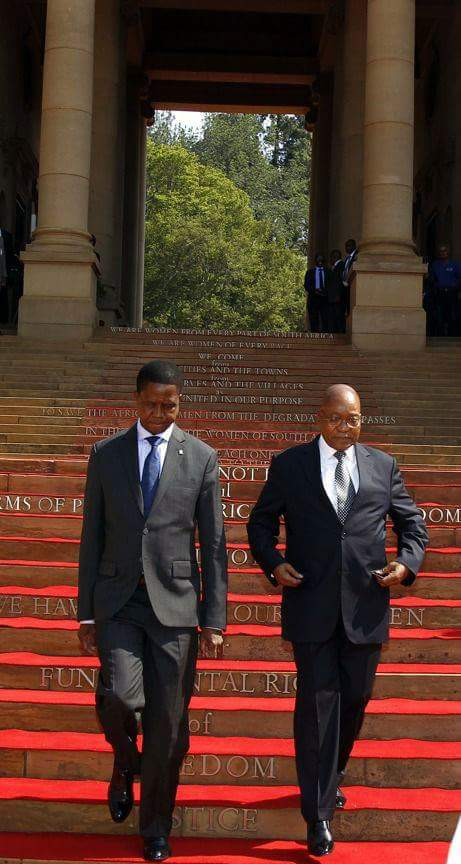 President Edgar Chagwa Lungu with his South African counterpart Jacob Zuma on arrival at Union Buildings in Pretoria,South Africa on Thursday,December 8,2016. PICTURE BY SALIM HENRY/STATE HOUSE ©2016