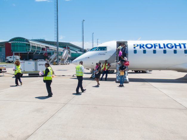 Passengers arriving in Durban on Proflight's 50-seat CRJ jet