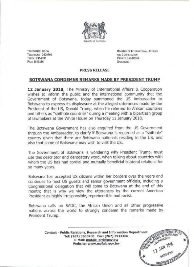 Botswana statement
