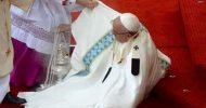 Pope misses step, falls to the ground