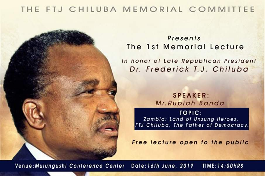 RB to grace FJT Chiluba Memorial Lecture